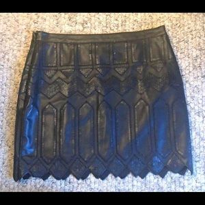 Sequin Leather Skirt